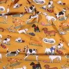 Tissu Coton imprimé Arty Doggy's sur fond Jaune moutarde - Par 10 cm