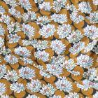 Tissu Coton imprimé Arty Nénuphar ocre sur fond Gris anthracite - Par 10 cm