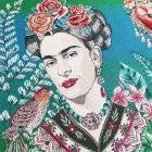 Panneau carré jacquard 48x48cm Frida Kahlo fleuris sur fond Bleu