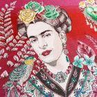 Panneau carré jacquard 48x48cm Frida Kahlo fleuris sur fond Rose fuchsia
