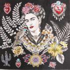 Panneau carré jacquard 48x48cm Frida Kahlo fleuris sur fond Noir