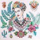 Panneau carré jacquard 48x48cm Frida Kahlo fleuris sur fond Blanc