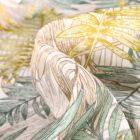 Tissu Jacquard Damassé Paloma vert et jaune sur fond Naturel