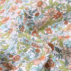 Tissu Coton imprimé Arty Pensée sur fond Blanc