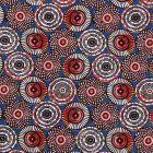 Tissu Coton Imprimé Arty Cercles Blancs, oranges et noirs sur fond Bleu - Par 10 cm
