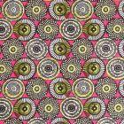 Tissu Coton Imprimé Arty Cercles Blancs, moutarde et noirs sur fond Rose - Par 10 cm