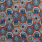 Tissu Coton Imprimé Arty Cercles Blancs, bleus et noirs sur fond Rouge orangé - Par 10 cm
