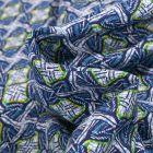 Tissu Viscose Arty Inspiration wax sur fond Bleu