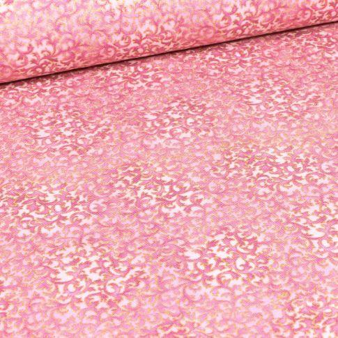Tissu Robert Kaufman Persis Blossom fleurs sur fond Rose pâle