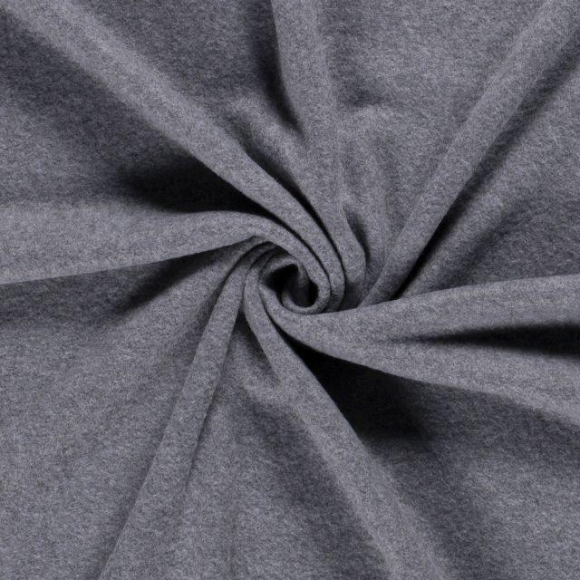 Tissu Polaire uni Gris foncé chiné - Par 10 cm