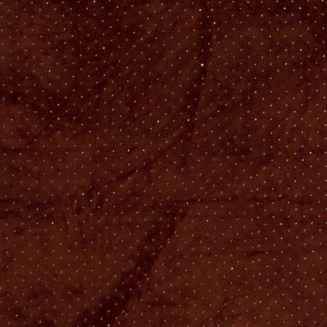 Tissu Velours jersey épais Strass argentés sur fond Terracotta - Par 10 cm