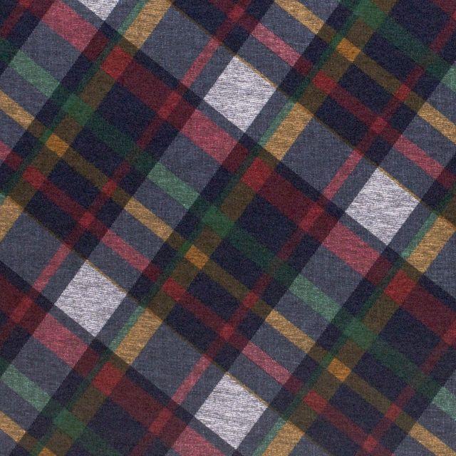 Tissu Jersey Milano Carreaux Rouge, ocre, vert et noir sur fond Gris - Par 10 cm