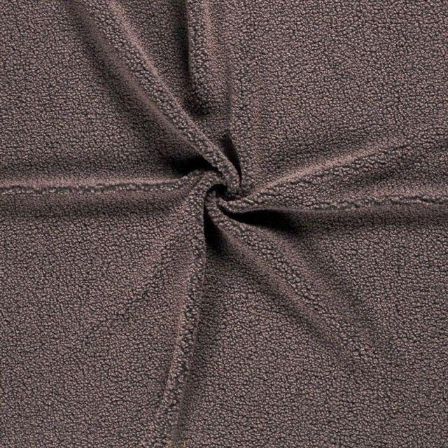 Tissu Fausse fourrure Teddy Bouclettes Taupe - Par 10 cm