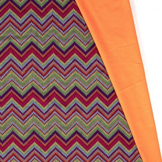 Tissu Softshell Chevrons envers polaire  orange fluo sur fond Vert - Par 10 cm
