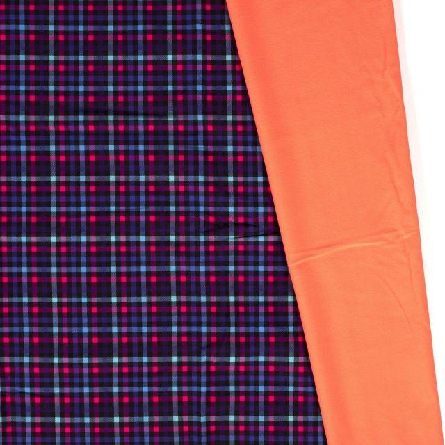 Tissu Softshell envers polaire Carreaux Néon sur fond Violet - Par 10 cm