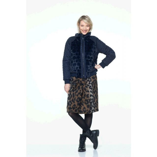Tissu Lainage Effet léopard Noir sur fond Marron - Par 10 cm