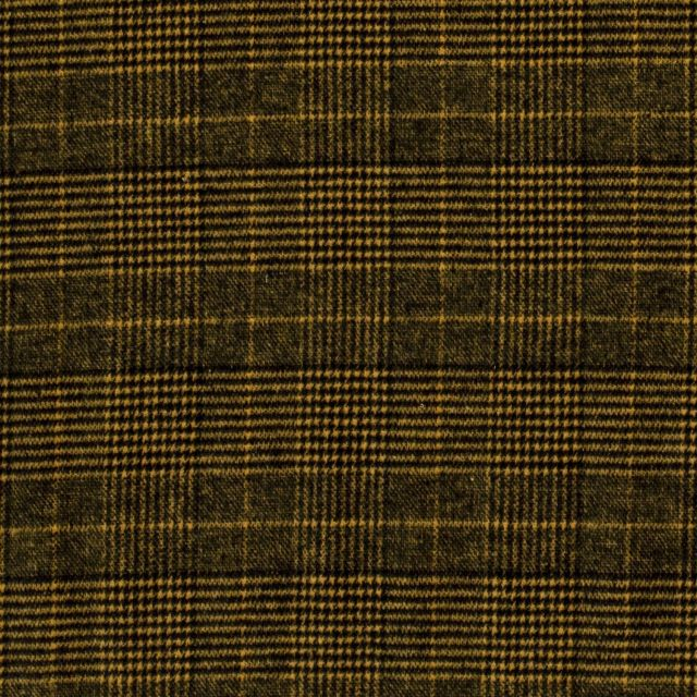 Tissu Jacquard Toucher laine Carreaux sur fond Jaune - Par 10 cm