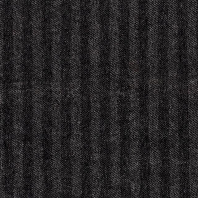 Tissu Jacquard Toucher laine Rayures sur fond Gris - Par 10 cm