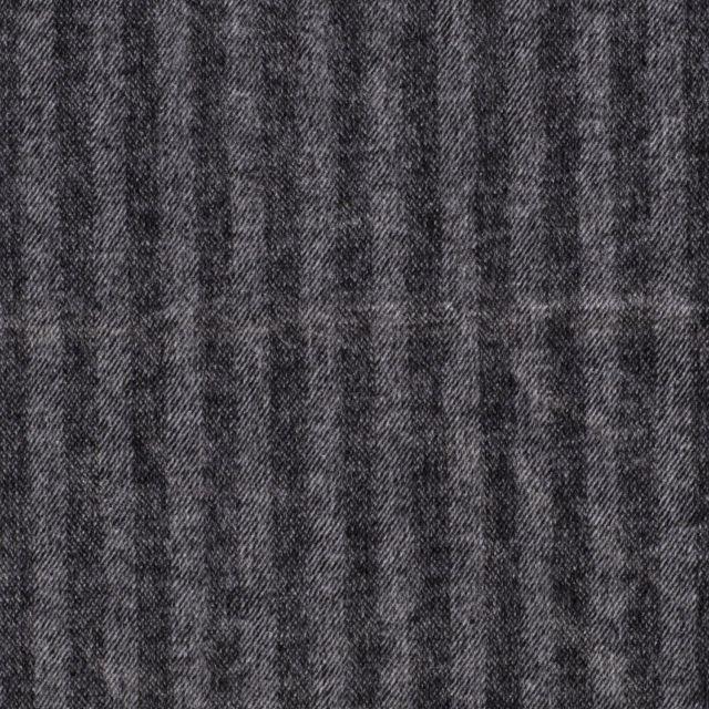 Tissu Jacquard Toucher laine Rayures sur fond Noir - Par 10 cm