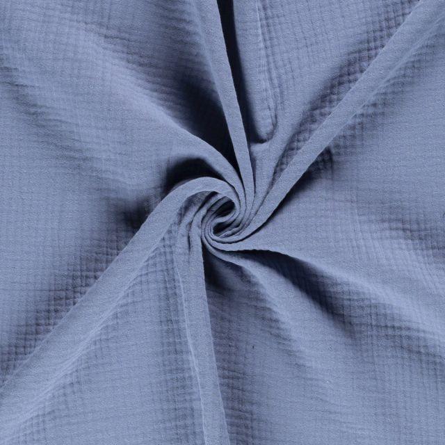 Tissu Triple gaze de coton Bleu denim - Par 10 cm