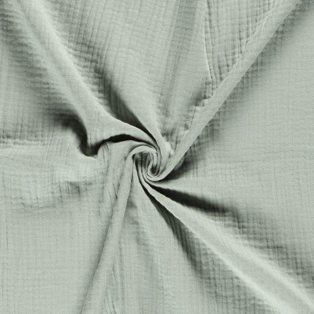 Tissu Triple gaze de coton Vert d'eau - Par 10 cm