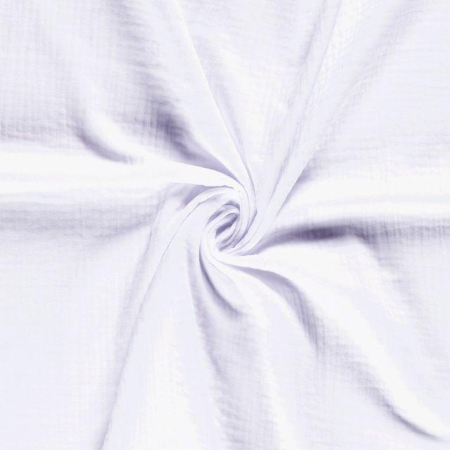 Tissu Triple gaze de coton Blanc - Par 10 cm