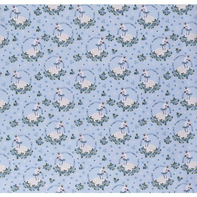 Tissu Coton imprimé LittleBird Cygnes romantiques sur fond Bleu clair - Par 10 cm