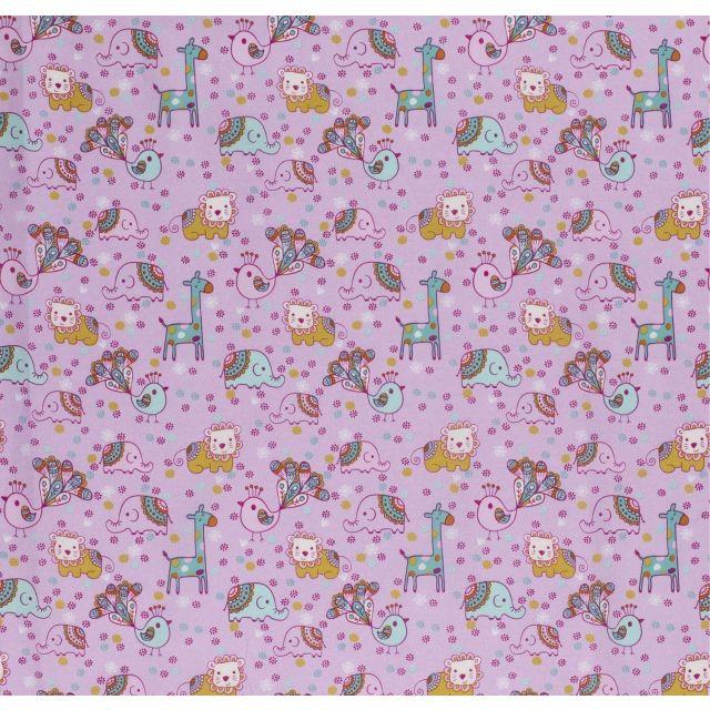 Tissu Coton imprimé LittleBird Animaux enfantins et ciel de fleurs sur fond Rose - Par 10 cm