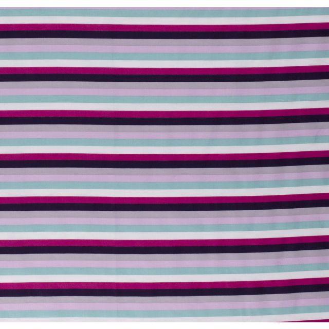 Tissu Coton imprimé Rayures fuchsia, roses, grises et vertes sur fond Blanc - Par 10 cm