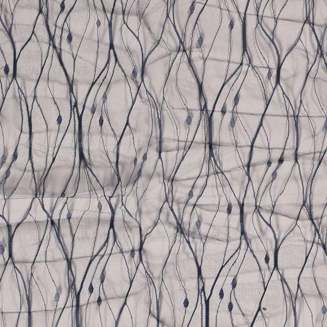 Tissu Dentelle tulle souple Broderie abstraite sur fond Bleu marine - Par 10 cm
