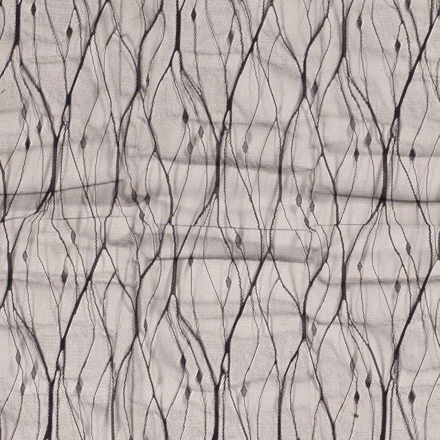 Tissu Dentelle tulle souple Broderie abstraite sur fond Noir - Par 10 cm