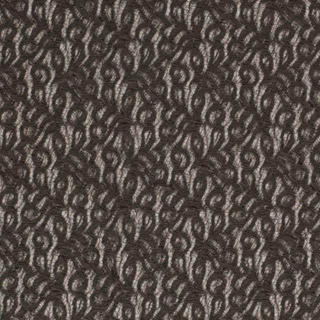 Tissu Dentelle Olga arabesque Vert kaki foncé - Par 10 cm