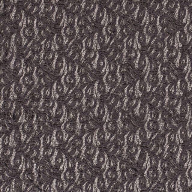 Tissu Dentelle Olga arabesque Gris anthracite - Par 10 cm