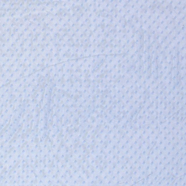 Tissu Tulle souple à pois Bleu - Par 10 cm