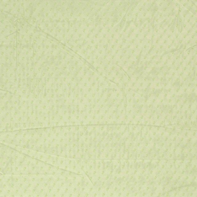 Tissu Tulle souple à pois Pois sur fond Vert - Par 10 cm