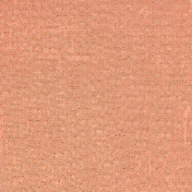 Tissu Tulle souple à pois Pois sur fond Orange - Par 10 cm