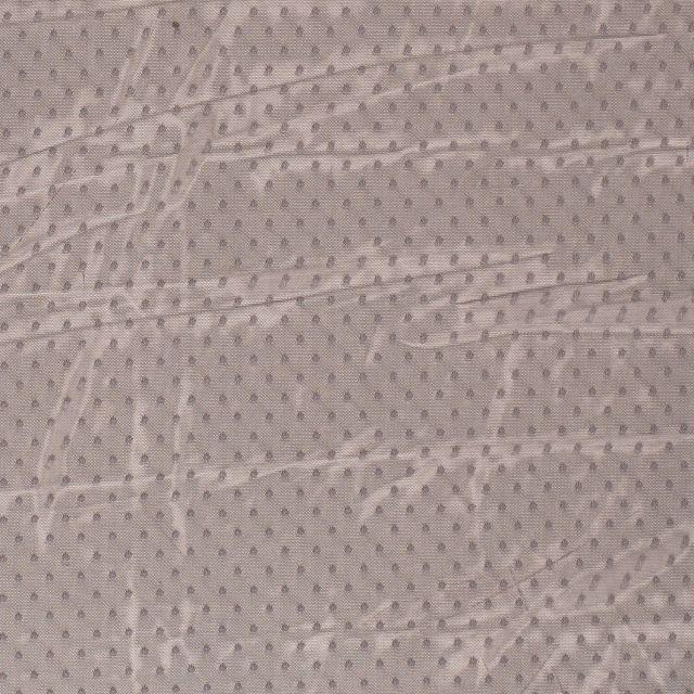 Tissu Tulle souple à pois Pois sur fond Gris - Par 10 cm