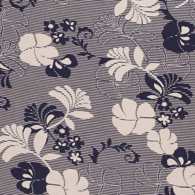 Tissu Jersey Viscose Fleurs et rayures bleu marine sur fond Taupe - Par 10 cm