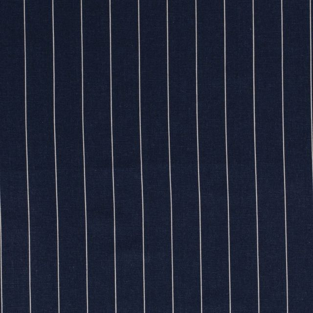 Tissu Viscose Lin Rayé sur fond Bleu jean - Par 10 cm