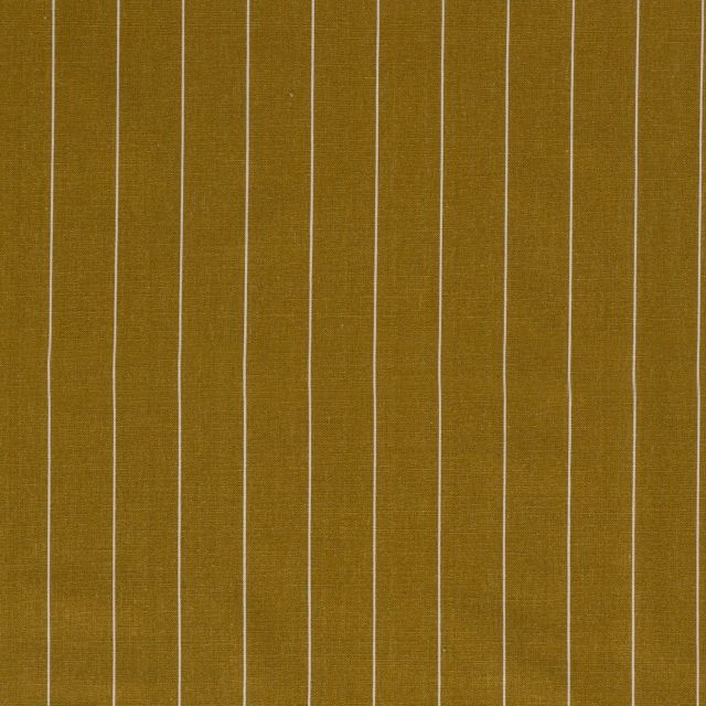 Tissu Viscose Lin Rayé sur fond Moutarde - Par 10 cm