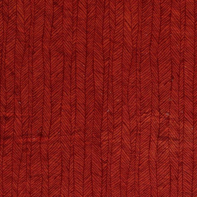Tissu Jersey Velours Eponge Flèches géométriques sur fond Brique - Par 10 cm
