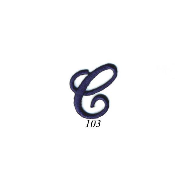 "Ecusson Thermocollant Lettre Calligraphie Anglaise ""C"" Marine"
