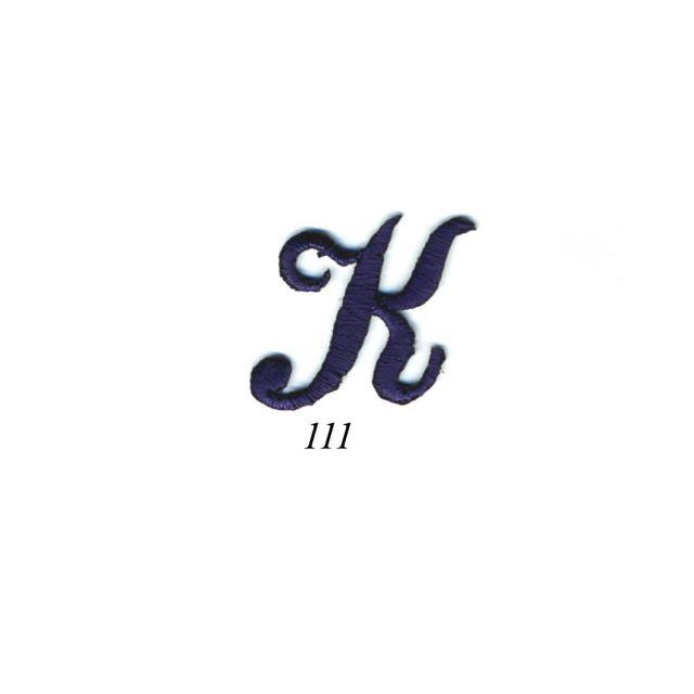 "Ecusson Thermocollant Lettre Calligraphie Anglaise ""K"" Marine"