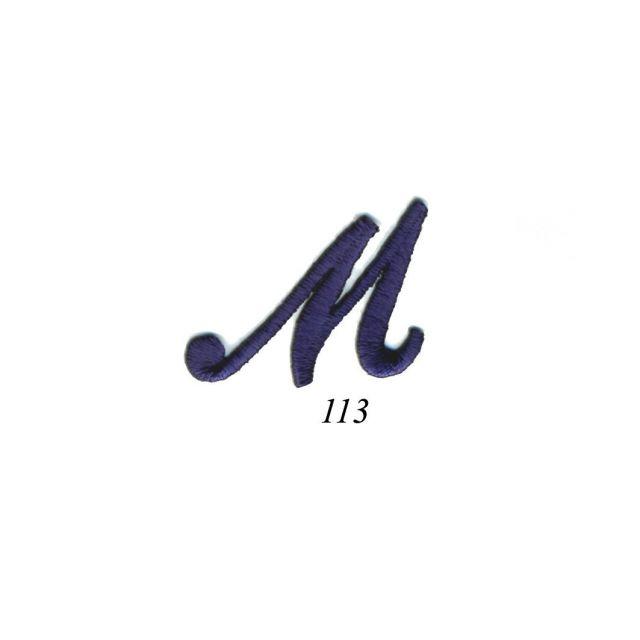 "Ecusson Thermocollant Lettre Calligraphie Anglaise ""M"" Marine"