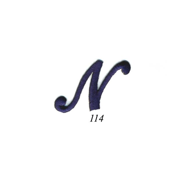 """Ecusson Thermocollant Lettre Calligraphie Anglaise """"N"""" Marine"""