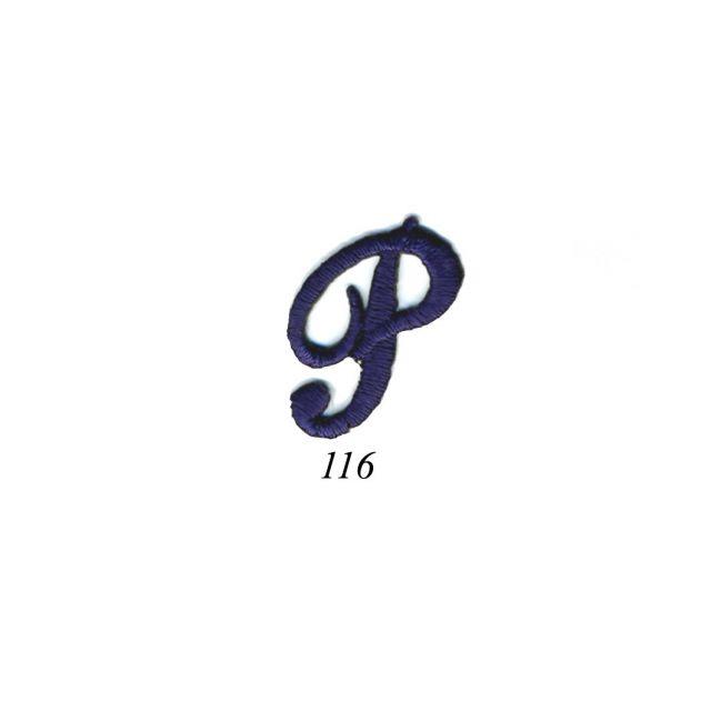 "Ecusson Thermocollant Lettre Calligraphie Anglaise ""P"" Marine"