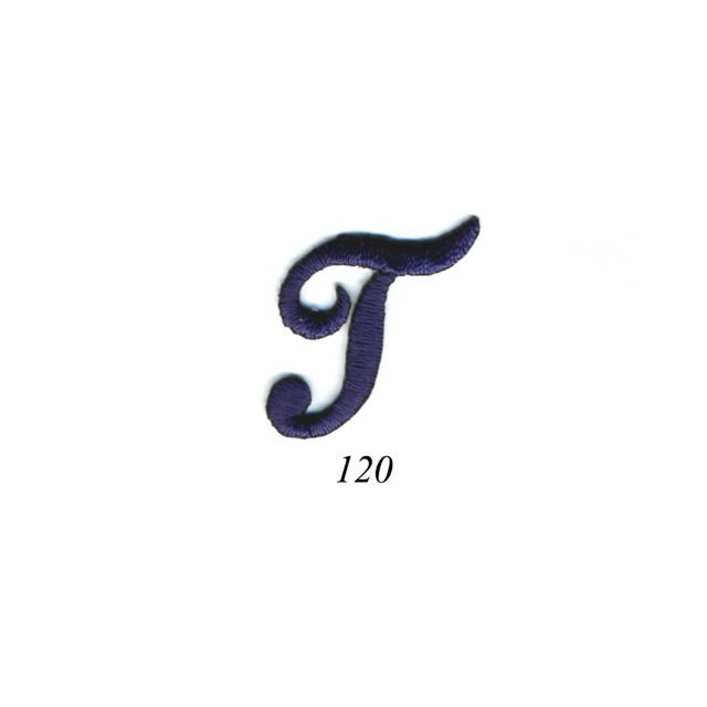 """Ecusson Thermocollant Lettre Calligraphie Anglaise """"T"""" Marine"""
