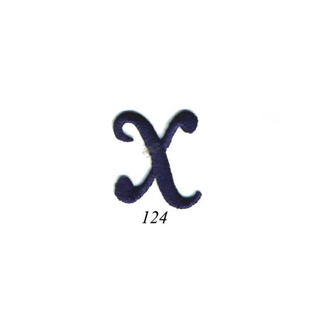 "Ecusson Thermocollant Lettre Calligraphie Anglaise ""X"" Marine"