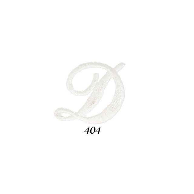 """Ecusson Thermocollant Lettre Calligraphie Anglaise """"D"""" Blanche"""