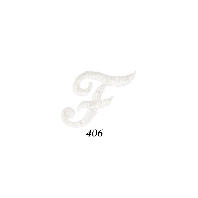 """Ecusson Thermocollant Lettre Calligraphie Anglaise """"F"""" Blanche"""